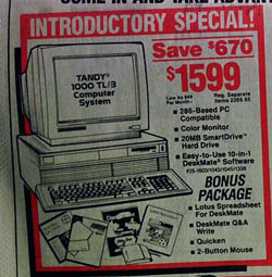 Advert showing a Tandy 286-basec computer for $1,599, with various office software bundled.
