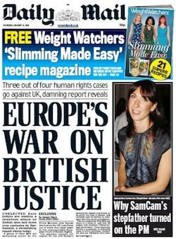 "A front page from the Daily Mail, with the headline ""Europe's war on British justice"""