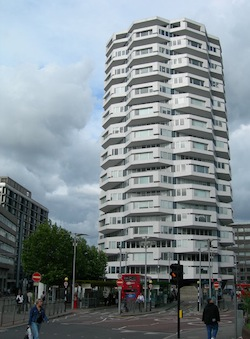 Picture of the NLA Tower, an octagonal 24-storey building, in east Croydon