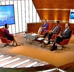 Screenshot of Samira Ahmed (presenter), Angela Epstein, George Hargreaves and James O'Brien on Sunday Morning Live