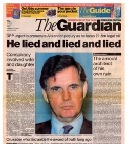 The Guardian's front page, showing Jonathan Aitken, a former British politician, and the headline \