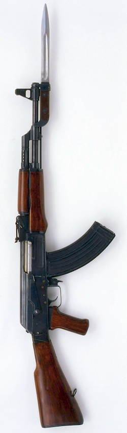Picture of an AK-47 assault rifle, with magazine and bayonet attached