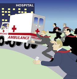 Cartoon of a lawyer chasing after an ambulance