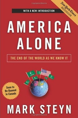 Cover of Mark Steyn's book, America Alone. The cover shows a globe with an American flag planted in the USA, and several 'Islamic' flags showing a crescent, star and sword on a green background, planted in other western countries.