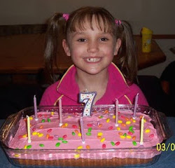 Picture of a young white girl with two pony-tails on both sides of her head, wearing a pink top. She has a birthday cake in a large bowl, with pink icing, brightly coloured sweets scattered over it, and seven candles and a large number 7.