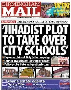 "Front page of the Birmingham Mail, showing the headline ""Jihadist plot to take over city schools"""