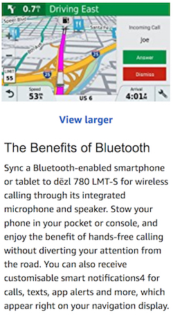 "A clip from a screenshot of the Amazon listing for this item, showing the words ""Incoming Call: Joe"" and buttons that say Accept and Reject, and underneath, a blurb that says ""The benefits of Bluetooth"" and a claim that you can ""enjoy the benefit of hands-free calling without diverting your attention from the road""."