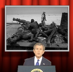 A black-and-white image of a soldier loading or readying to fire a cannon, with another soldier behind him, against red curtains, with Bush 'singing' underneath at a lectern with the presidential seal on it.