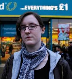 Picture of Cait Reilly outside Poundland in Birmingham