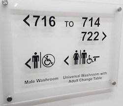 "A sign with letters in black on glass, fixed by metal bolts to the wall behind. There are arrows pointing left with the room number 716, underneath which it says ""Male washroom"" with a man symbol and a circle with a wheelchair with a line through it. Next to the right arrow are the room numbers 714 and 722 and underneath that is ""Universal washroom with hoist and adult change table"", with signs representing men, women, wheelchairs and the hoist."