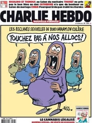 Front page of Charlie Hebdo, showing a cartoon of four women in different coloured hijabs saying (in French): 'Sex slaves of Boko Haram say: hands off our benefits!'.