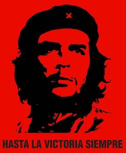 "Poster of Che Guevara, a former member of Fidel Castro's cabinet, on a red background with the slogan ""Hasta la victoria sempre"" at the bottom."