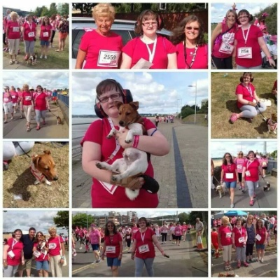 Selection of pictures of Claire and family at the Race for Life in Swansea last Sunday; participants are all in pink, as is usual