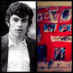 A black and white picture of Connor Sparrowhawk, a young white man with dark hair with a dark grey jacket, white shirt with no tie, while on the right is a part of his drawing of a red London bus.