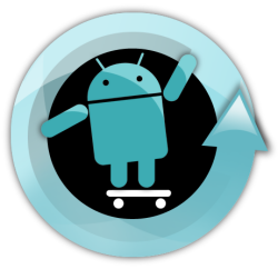 The CyanogenMod logo, featuring a turquoise Android symbol on a skateboard on a black background, inside a turquoise circular arrow