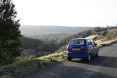 Picture of blue Daewoo Matiz at Boxhill in England