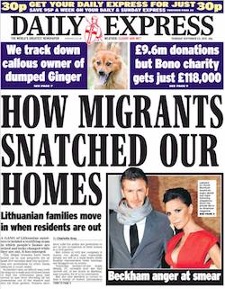 "A front page from the Daily Express, with the headline ""How migrants snatched our homes""."