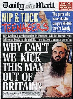 "A front page from the Daily Mail, with a picture of the Muslim preacher Abu Qatada and the headline ""Why *can't* we kick this man out of Britain?"""