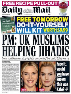 "Front page of the Daily Mail, with the headline ""UK Muslims Helping Jihadis: Communities must stop 'quietly condoning' barbaric IS, he warns"""