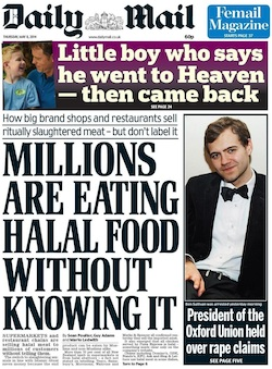 "Front page of the Daily Mail, with the headline ""Millions are eating halal food without knowing it"""