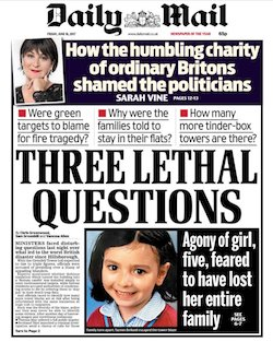 "A front page of the Daily Mail with the headline ""Three lethal questions"", namely, ""Were green targets to blame for fire tragedy? Why were the families told to stay in their flats? How many more tinder-box towers are there?""."