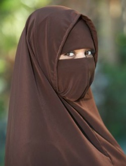 Picture of a woman wearing a black head and face covering