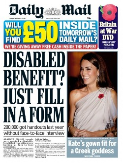 Daily Mail's front page from 11th November 2011, showing headline 'Disabled Benefit? Just fill in a form'