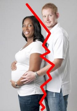 Picture of a white man and a pregnant black woman, with a red line between them