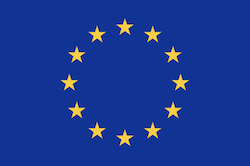 The flag of the EU, showing 12 yellow stars in a circle on a blue background