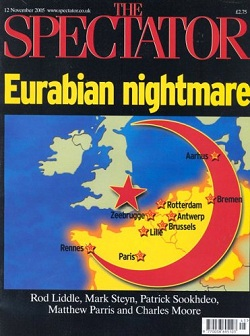 Front page of the Spectator from 12th November 2005, with a red crescent running across northern Europe, with a star where London is, with the headline 'Eurabian Nightmare'