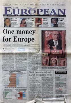 "The front page of ""The European"", with the headline ""One money for Europe"" and a smaller piece headed ""West Germans to fund Soviet occupation costs"""