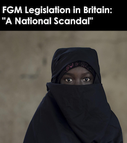"a national scandal"". The crop has the title at the top in white on a black background; below is a picture of a Black woman wearing a black headscarf wrapped around her face, with a red and black cap on underneath. The background is a blur of grey and green."