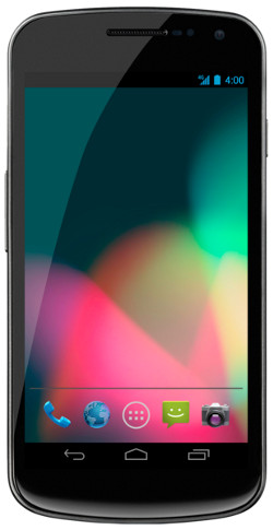 Picture of a Samsung Galaxy Nexus phone, a smartphone with a large screen and no front buttons, with a multi-coloured background, indicators for time, battery life and network strength, and various application icons