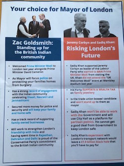 A mailshot from Zac Goldsmith's campaign from 2016.