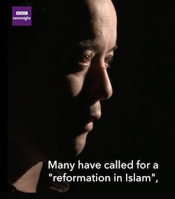 "TV still of Graeme Wood facing from the side, with the words ""Many have called for a 'reformation in Islam'"" at the bottom, and the BBC Newsnight logo in the top left"