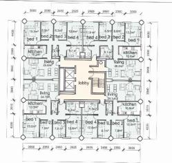 A floor plan of a single storey in the Grenfell Tower which burned down. Of significance is the single stairwell in the centre of the plan.