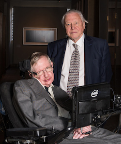 Prof Stephen Hawking with David Attenborough