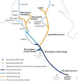 A map of the route of the new High Speed 2 rail link.