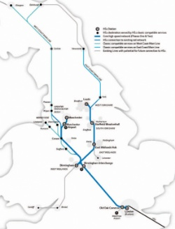 Map of the route of the High Speed 2 railway line, showing a main branch from London to the Midlands, branching north-west for Birmingham, Liverpool and Manchester and north-east for Leicester, Sheffield and Leeds