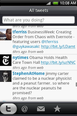 A screenshot from the Android twitter client HTC Peep