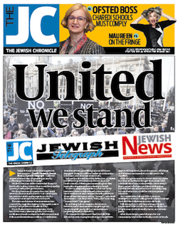 "A front page from the Jewish Chronicle, with the paper's logo ('The JC' in white on a blue background) in the top left corner, and underneath it the words ""United We Stand"", with the mastheads of the JC, Jewish Telegraph and Jewish News and the text of an article which is blurred, on the background of a black and white picture of a demonstration against Labour anti-Semitism in London."