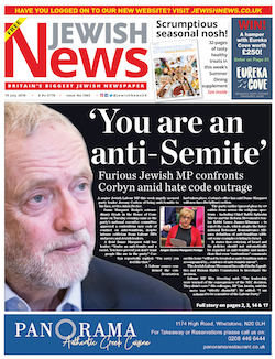 "A front page from the Jewish News, with a headline that reads ""You are an anti-Semite: Furious Jewish MP confronts Corbyn amid hate code outrage""."