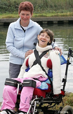 Picture of Katie Thorpe, who has severe cerebral palsy and profound intellectual disability, with her mother Alison Thorpe