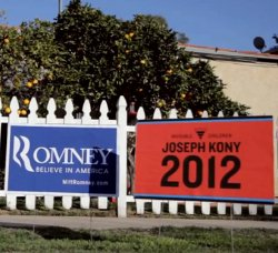 """Picture of a poster saying """"Kony 2012"""" issued by Invisible Children, alongside a Mitt Romney campaign poster"""