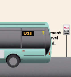"A graphic showing a turcquoise coloured single-decker bus with the number U25 in the driver's window, approaching the ""U25 bus stop"" shown in the above still"
