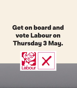 "A still from the Labour ""free bus rides"" election video, which reads ""Get on board and vote Labour on Thursday 3rd May"" with the Labour party red rose symbol and a square with an X in it underneath."
