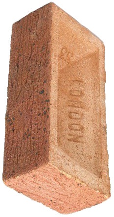 """Picture of a red London brick, with the word """"London"""" and the number 33 etched into it"""