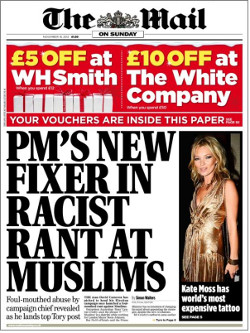 "Front page of the Mail on Sunday, with headline reading ""PM's new fixer in racist rant at Muslims"""