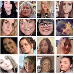 A 4x4 graphic with pictures of 16 of the 17 women and girls murdered in the terrorist attack in Manchester last Monday. They are white women and girls from age 8 to 51.