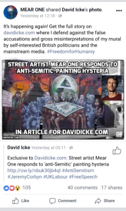 "A Facebook post showing a mural, the centrepiece of which is an image of a number of old, grey-beareded, stiff-collared men playing a Monopoly game where the board rests on the naked bodies of men. Above the image of the mural it says ""It's happening again! Get the full story on davidicke.com where I defend against the false accusations and gross misinterpretations of my mural by self-interested British politicians and the mainstream media. #FreedomforHumaniy""."